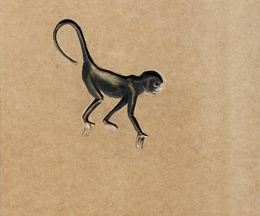 Monkey_60x50cm_2010_ oil on mdf sunken relief