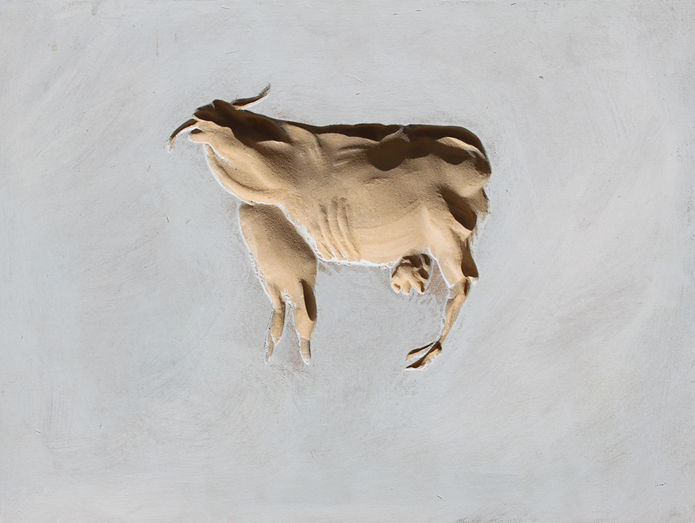 Holy Cow_2008_30x20cm_ acryl on mdf sunken relief