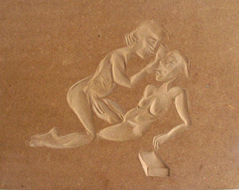 Lovers_2007_50x40cm_ mdf sunken relief