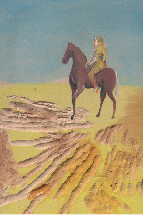 Blind Girl on Three Legged Horse_2005_50x70cm_ 2006_40x50cm_ acryl on mdf sunken relief