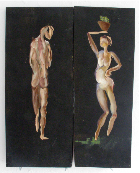 Urini and Flora_2006_40x50cm_ acryl on mdf sunken relief